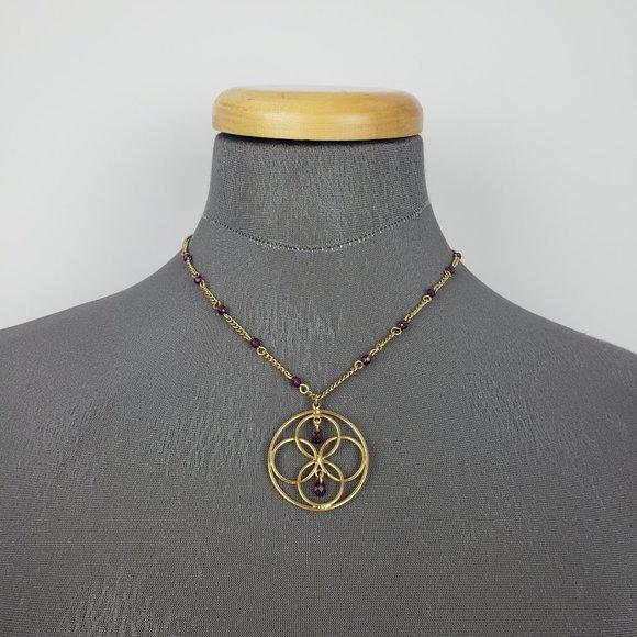 Avon Gold & Purple Necklace & Earrings